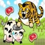 Тигр їсть корів